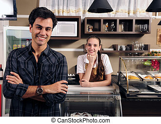 ägare, cafe, servitris