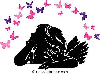 ängel, fjärilar, liten flicka