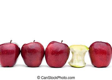 ätit, individ, gröna äpplen, utsökt, rött äpple