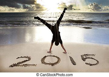 år, 2015, färsk, strand, soluppgång, lycklig