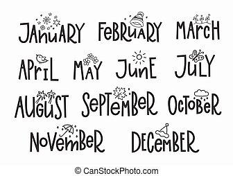 år, months, kalender, typografi, textning