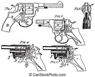 årgång, colt, revolver, teckning