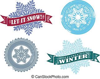 årgång, den, snö, vektor, tillåta, grafik