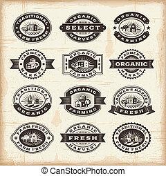 årgång, frimärken, jordbruk, organisk, sätta