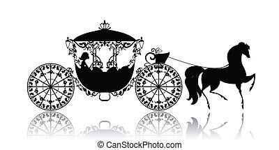 årgång, häst, silhuett, vagn
