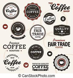 årgång, kaffe, etiketter