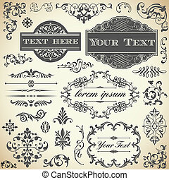 årgång, kalligrafi, sätta, prydnad