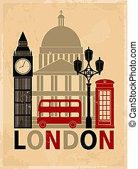 årgång, london, affisch