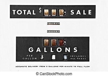 årgång, pump, gas, detaljerna