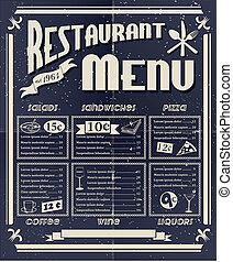 årgång, restaurang meny