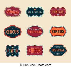 årgång, sätta, etiketter, cirkus