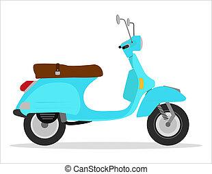 årgång, sparkcykel, grön