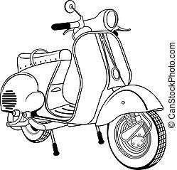 årgång, sparkcykel, vektor, illustration