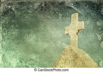 årgång, sten, grunge, kors, bakgrund