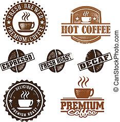 årgång, stil, kaffe, frimärken