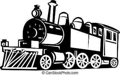 årgång, tåg, svart, gjort, vit, ånga