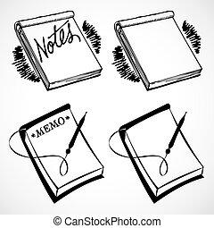 årgång, vektor, anteckningsböcker