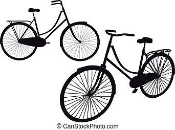 årgång, vektor, cykel