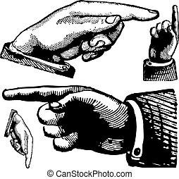 årgång, vektor, fingrar, pekande