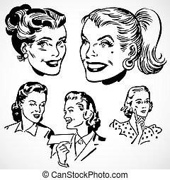 årgång, vektor, kvinnor