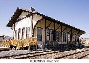 århundrade, station, tåg, vrida