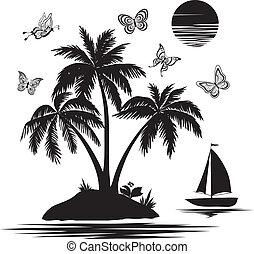 ö, silhouettes, fjärilar, skepp, palm