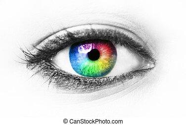 ögon, färgrik