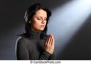ögon, kvinna, ung, religion, ögonblick, stängd, bön