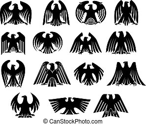 örn, silhouettes, sätta, heraldik