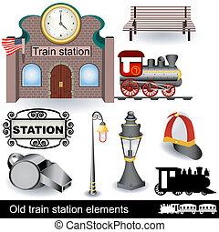 öva station, gammal, elementara