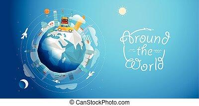 över, vektor, värld, bil., resa, resa, illustration, begrepp