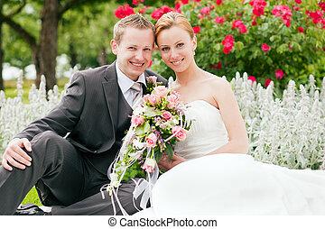 -, bröllop, brudgum, parkera, brud