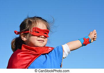 -, flicka, barn, superhero, driva
