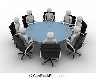 -, folk, runda, isolerat, image., session, tabell., bak, 3