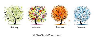 -, fyra, konst, höst, vacker, träd, fjäder, design, winter., kryddar, sommar, din