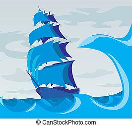 -, sailer, ande, hav, adven