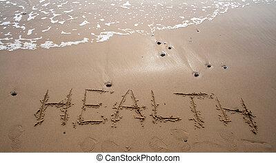 -, sand, hälsa, skrift