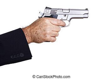 -, sikta, nära, ladda, gevär
