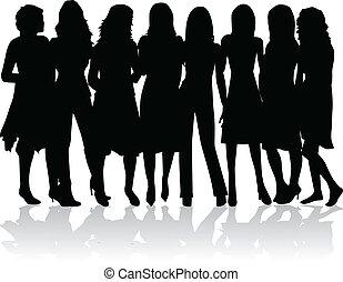 -, silhouettes, kvinnor, grupp, svart