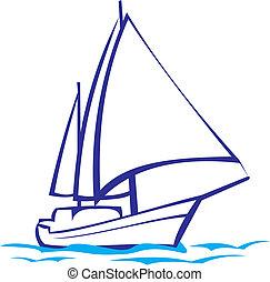 -, silhuett, yacht, sjögång res