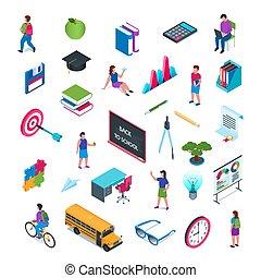 02, skola, sätta, isometric, utbildning, ikon