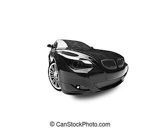 04, bil, isolerat, svart, framdelen beskådar
