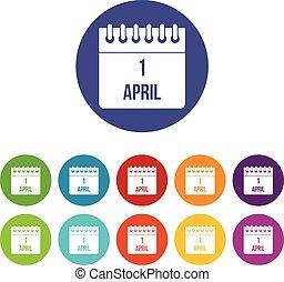 1, april, kalender, sätta, ikonen