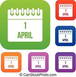 1, april, kalender, sätta, kollektion