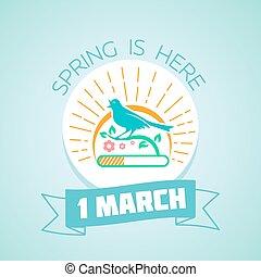 1, mars, -, fjäder