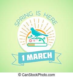 1, mars, -, grön, fjäder
