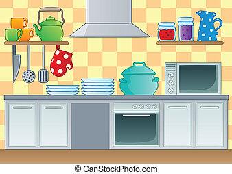 1, tema, avbild, kök