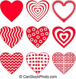 2, sätta, hjärta, valentinbrev