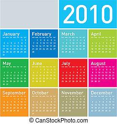 2010., kalender, färgrik