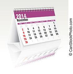 2014, november, kalender, skrivbord